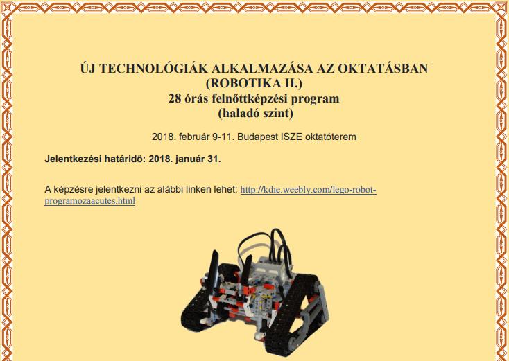 Robotika képzés felhívás